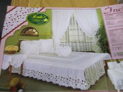 Schlafzimmer Set mit Gardinen Blau Bettdecke +Kissenbezug+Tiscdecke+ Gardinen