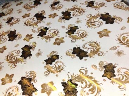 Tischschutz Folie 2 mm Pvc Weiß-gold Schutzfolie Tischdecke Meterware 80-100