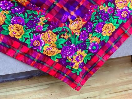 Bandana Halstuch Schal 90x90 Kopftuch Bunt Rot Blumen Tuch Made In ITALY