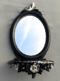 Wandspiegel Schwarz Silber Barock mit Wandkonsole Antik Spiegel 48x25 Oval cp91