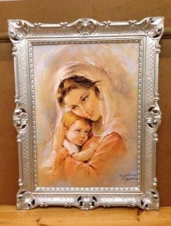 Mutter Baby Madonna Maria Gemälde 90x70 Bild Wandbild Bild mit Rahmen Barock
