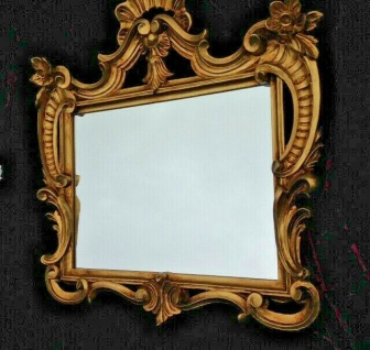 Wandspiegel barock Gold Weiß-Gold 60x57cm Spiegel Antik Shabby Badspiegel C494