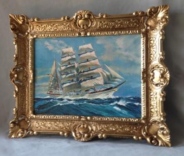Segelschiff Meer Maritime Gemälde Schiffe Bilderrrahmen Wandbild Antik 56x46 W - Vorschau 4