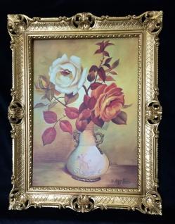 BLUMEN Rosen Bild 90 x 70 Bild mit Rahmen Rosen in Vase Gemälde gerahmt B6