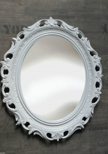 Wandspiegel Weiß Oval Badspiegel Barock ANTIK BILDERRAHMEN RETRO 58x68 mirror