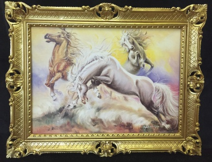 Gerahmtes Pferde Bild Gemälde Pferd 90x70cm Pferd Bild mit Rahmen Pferd 3