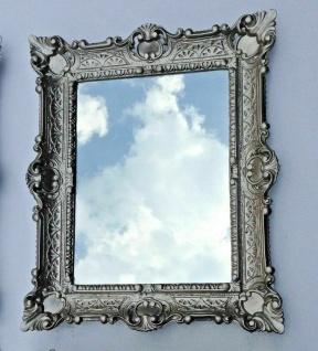 Wandspiegel rechteckig Antik Silber Barock 56x46 Flurspiegel Prunk Spiegel Retro
