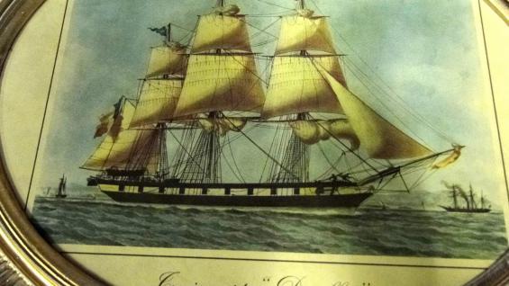 Segelschiff Gemälde Schiff Denlees Bild Bilderrahmen groß 58X68 Fotorahmen