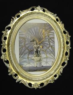 WANDBILD Pferd Gemälde 68x58Pferdebild Bilderrahmen Oval xxl Gold weiß y346