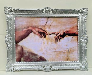 Die Erschaffung Adams von Michelangelo Bild mit Rahmen 90x70 Gottes hand Adam