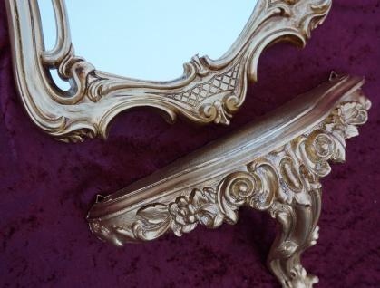 Wandspiegel mit Konsole Gold Spiegel 60x35 BAROCK Wandspiegel Ablage Badspiegel