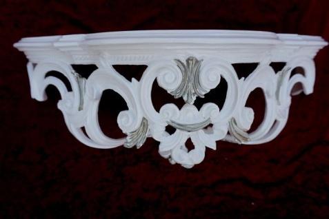 Wandkonsole Konsole Barock Weiß Silber 50x20x24 Wandregale Antik Spiegelkonsole