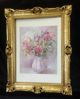 Gemälde BLUMEN Gemälde Bild 90x70 Bild mit Rahmen Rosen Goldene Vase gerahmt B3