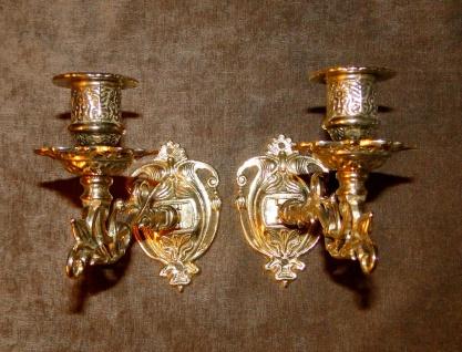 2 x Antik Wandkerzenhalter Wandleuchter, Klavier Messing brüniert Barock Antik