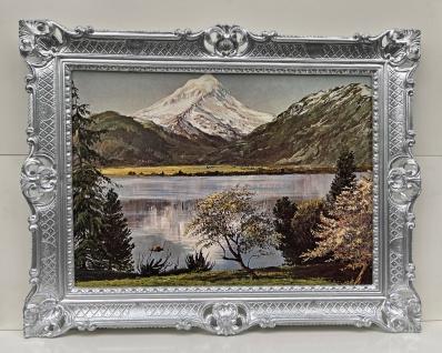 Gerahmte Gemälde Antik Berge See Fluss 90x70 Landschaft Barock Bild mit Rahmen