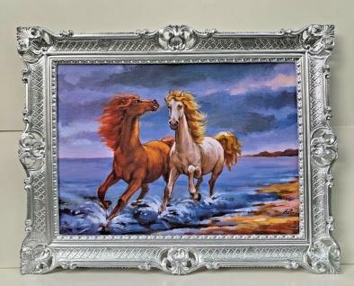 Gerahmte Pferde Bild Gemälde Pferd Bild mit Rahmen Antik 90x70 Pferde am Strand