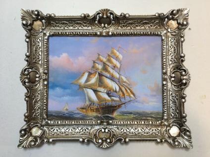 Gemälde Schiffe Bild mit Rahmen Segelschiff 56x46 Kunstdruck Bild Wandbild