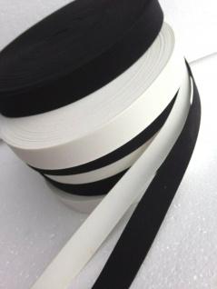 10 Meter Gummikordel Gummiband Hosengummi Gummilitze 25 mm Weiß-Schwarz kochfest