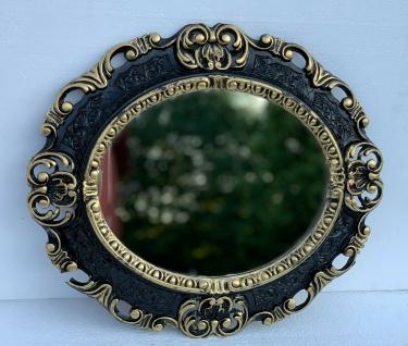 Wandspiegel Oval Schwarz Gold Barock Antik 45x38 Badspiegel Prunk Rokoko Vintage
