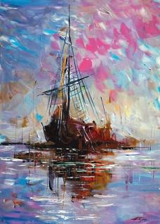 Kunstdruckbild 35x50cm Segelschiffe Gemälde Klassik Seeschlachten Regatten Bild