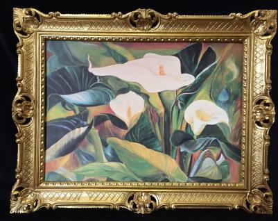 Blumen Rosen Bild 90x70 Bild mit Rahmen Rosen BLUMEN Calla Gemälde gerahmt B8