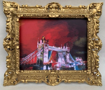 Gerahmte Barock Bild Städte England Tower Bridge Wandbild 45x37 Bild mit Rahmen