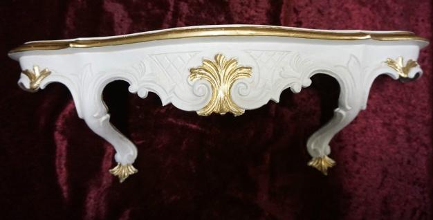Wandkonsole Antik Wandregal Barock Elfenbein Weiß-gold B:50 xT:13xH:21cm Cp51