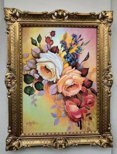 Gemälde Blumenbild 90x70 Blumenstillleben Rosen Antik Bild Barock Rahmen Gold