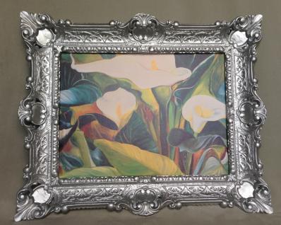 Bild mit Rahmen Blumen Weiße Calla Wandbild 57x47 Gerahmte Gemälde Silber 07