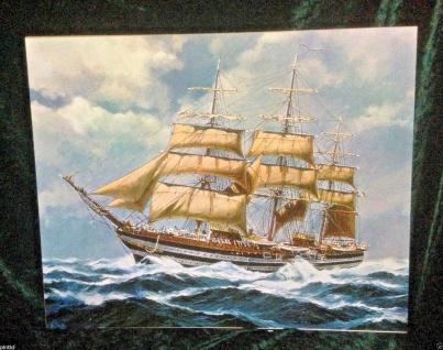 Segelschiff Meer Wandbild 50x70 Kunstdruck auf MDF Platte Rückwand Schiffe Br