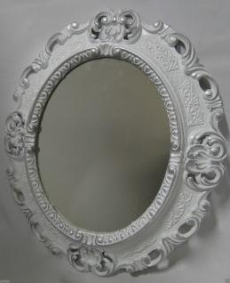Wandspiegel Weiß-silber Oval Landhaus Antik Badspiegel Barock 45x37 Shabby Neu - Vorschau 5