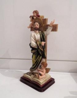 Christliche Kruzifix Jesus Christus Figur Tischkreuz 23x11 Herrgott Engel Baby