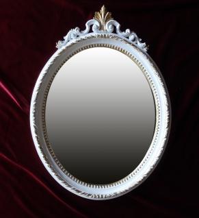 Wandspiegel Barock Weiß-Gold Antik rokoko 63X46 Spiegel Flurspiegel Oval C13N