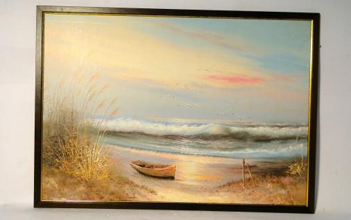 Gemälde Ölbilder Holzrahmen 50x70 Bilder Poster Bilderrahmen Braun - Gold Boot 1