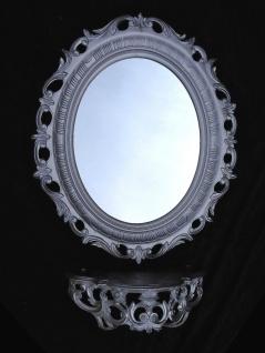 Wandspiegel Oval mit Konsole Hochglanz Silber Spiegelablage/regal 56X46 BAROCK