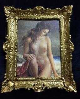 Akt Erotik Gemälde gerahmte Bild 56x46 Frau Nackt Bild mit Rahmen Barock 06