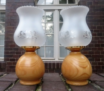 2x Tischlampen Nachtischlampe helles HOLZ Tischleuchte lampe Leselampe Landhaus