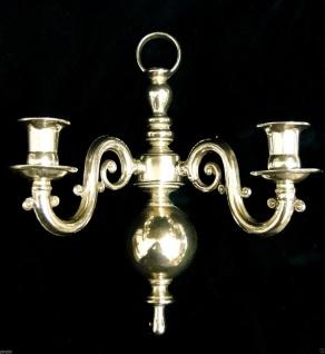 2 armiger Wandkerzenhalter -leuchter, Klavier, antik Messing brünniert, Barock