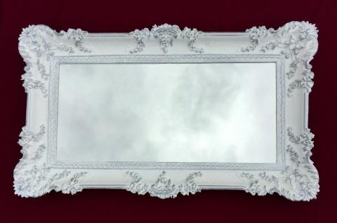 Bilderrahmen Weiß Silber Barock Gemälderahmen Prunk 97x57 Fotorahmen Antik