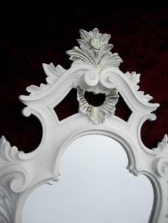 Wandspiegel Oval Weiß Silber Barock Antik Badspiegel 57X32 Flurspiegel COGSP-G