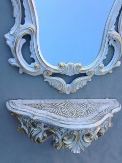 Wandkonsole Weiß Gold mit Wandspiegel Antik Barock 50x76 Wandregal Badspiegel - Vorschau 3