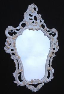 Repro Spiegel Oval Wandspiegel WEIß-Gold 50X76 ANTIK BAROCK Badspiegel 3039