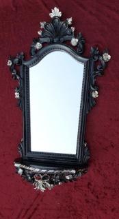 Wandspiegel mit Konsole Schwarz-Silber Spiegel ablage Barock Antik 77x50 cp93