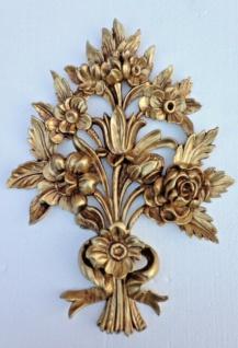 Wanddeko Antik Barock Wandbehang 38x28cm Gold Blumen Wandrelief Tür/Möbel Deko - Vorschau 2