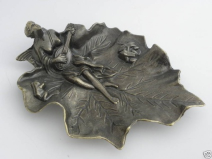 Wunderschöne deko Schale Aschenbecher Messing-Look Visitenkartenetui antik 23cm - Vorschau 3