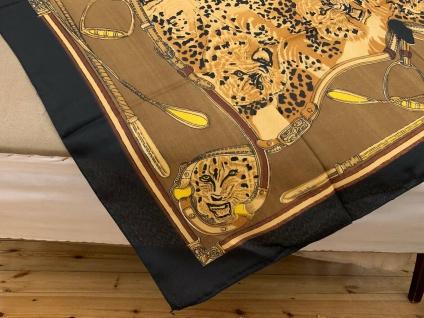 Halstuch Schal 110x110 Kopftuch Schwarz Tuch Reiter Leopard