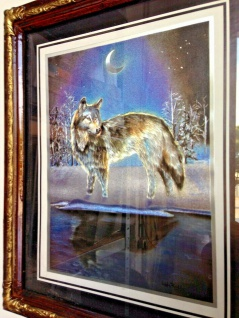 Antik Bild mit Rahmen in Barockstil Wolf Wölfe Holzoptik Braun 31x26 Mondschein
