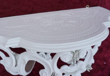Wandkonsole Konsole Barock Weiß Silber 50x20x24 Wandregale Antik Spiegelkonsole - Vorschau 4