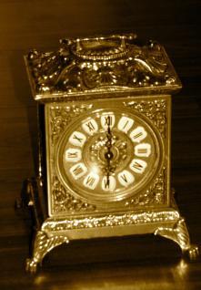 Messing Kaminuhr*Tischuhr*Antik*Uhr Messing Quarzwerk GOLD Barock 1082102