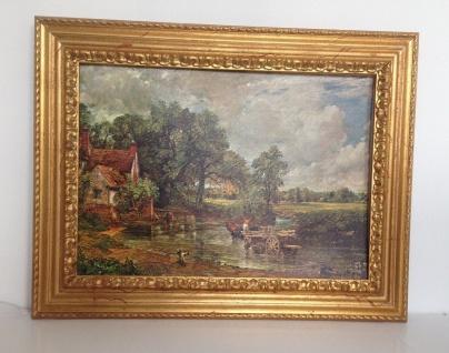 Bild mit Rahmen Holz Gemälde 90x70cm Landschafts Fluss Bauern Kutsche Wunschbild